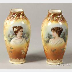 Pair of Royal Bonn Hand-painted Earthenware Portrait Vases