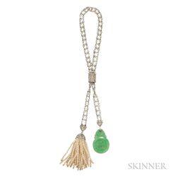 Art Deco Platinum, Seed Pearl, and Jade Bracelet
