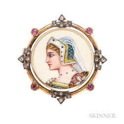 Antique Gold and Enamel Brooch