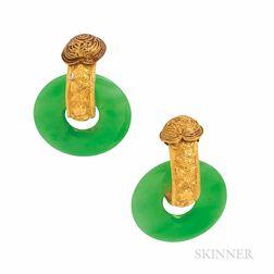 High-karat Gold and Jade Earrings