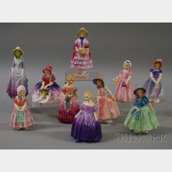 Ten Small Royal Doulton Porcelain Figures of Girls and Young Women