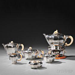 Six-piece Jean Puiforcat .950 Silver Tea and Coffee Service