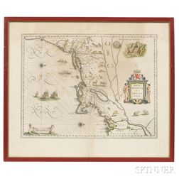 North America, East Coast, Maine to Virginia. Willem Janszoon Blaeu (1571-1638) Nova Belgica et Anglia Nova.