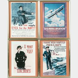Four Small Framed Reproduction WWI Posters