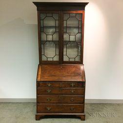 Georgian Glazed Mahogany Desk/Bookcase