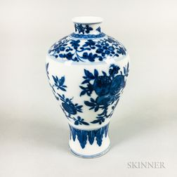 Miniature Blue and White Meiping   Vase