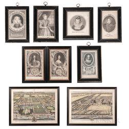 Nine Early Framed Engravings