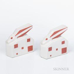 Pair of Elite Porcelain Cubist Rabbits