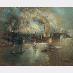 Glenn Cooper Henshaw (American, 1880-1946)      Queensborough, East River, New York City