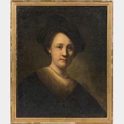 After Rembrandt Harmensz van Rijn (Dutch, 1606-1669)      Bust of a Young Woman with a Black Cap
