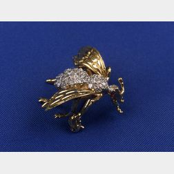 18kt Gold and Diamond Bee Pin