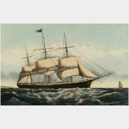 """Nathaniel Currier, publisher (American, 1838-1856)  CLIPPER SHIP """"LIGHTNING,"""""""