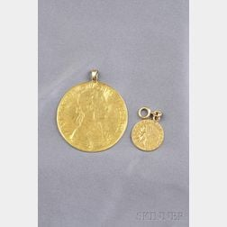 Two Gold Coin Pendants