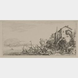 Jacques Callot (French, 1592-1635)      Lot of Eight Festival or Landscape Etchings:   Les Combats de Cavalerie