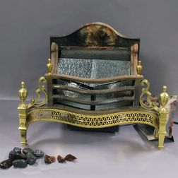 Brass, Cast Iron, and Glass Fireplace Insert