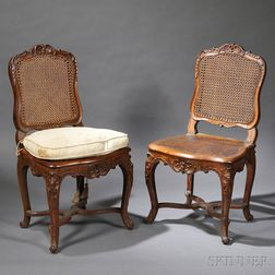 Pair of Louis XV Walnut Side Chairs