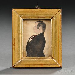 American School, 19th Century      Profile Portrait Miniature of a Gentleman.