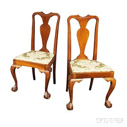 Pair of Transitional Chippendale-style Carved Mahogany Side Chairs