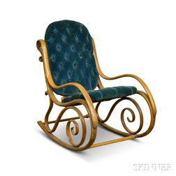 Thonet-style Upholstered Bentwood Armed Rocking Chair