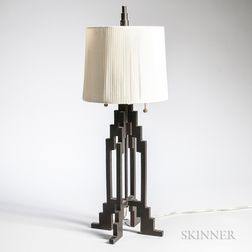 Art Deco Wrought Iron Architectural Table Lamp
