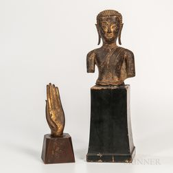 Gold-lacquered Bronze Head/Torso and a Hand of Buddha