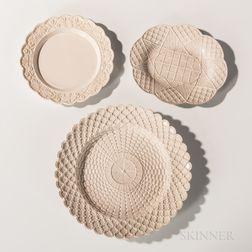 Three Staffordshire Press-molded Salt-glazed Plates