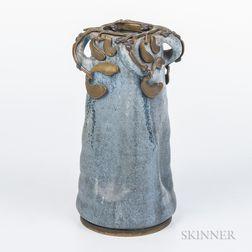 Alexandre Bigot Gilt-metal-mounted Stoneware Vase