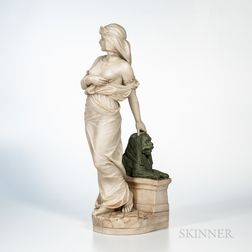Carved Alabaster Figure of an Egyptian Maiden