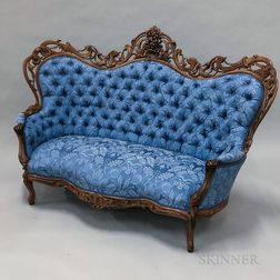 Rococo Revival Carved and Laminated Rosewood Sofa