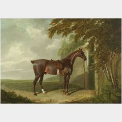 Attributed to John Frederick Herring, Sr. (British, 1795-1865)  Mr. H.M. Greaves's Hunter at Page Hall, Yorkshire