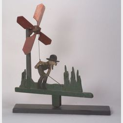 Carved and Polychrome Painted Wooden Gardener Whirligig