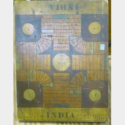 Polychrome Painted Wooden INDIA Game Board.