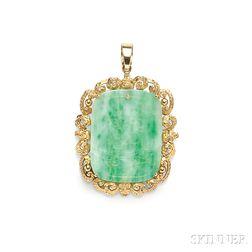 14kt Gold and Carved Jade Tablet