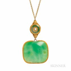 Gold and Jade Pendant Necklace