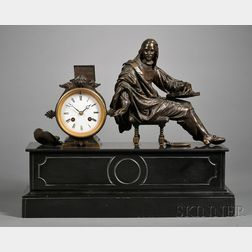 French Black Marble and Bronze Statuary Mantel Clock