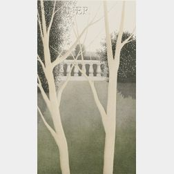 Robert Kipniss (American, b. 1931)      Two Trees and Balustrade