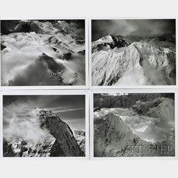 Bradford Washburn (American, 1910-2007), Four Mountain Views: Mt. Huntington, looking south west at twilight, 1964., Single Peak, Snowy