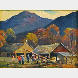 John F. Enser (American, 1898-1968)      Stables in Autumn.