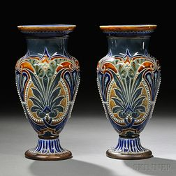 Pair of Doulton Lambeth Emily Stormer Decorated Stoneware Vases