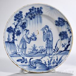 Tin-glazed Earthenware Chinoiserie-decorated Plate