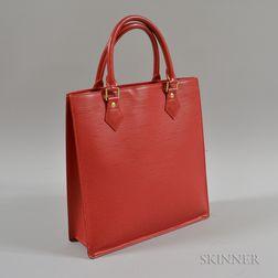 Louis Vuitton Red Leather Epi Plat Sac PM Tote Bag