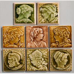 Eight Providential Tile Works Art Pottery Tiles