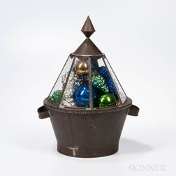 Round Tin and Glass Box with Approximately Thirty-four Kugel Ornaments