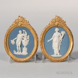Pair of Wedgwood & Bentley Solid Pale Blue Jasper Medallions
