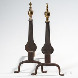 Pair of Wrought Iron Knifeblade Andirons