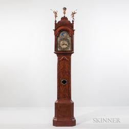 Dutch Burl Walnut Veneered Longcase Clock