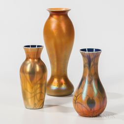 Three Imperial Art Glass Iridescent Gold Vases