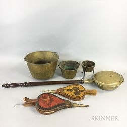 Six Wood and Metal Domestic Items