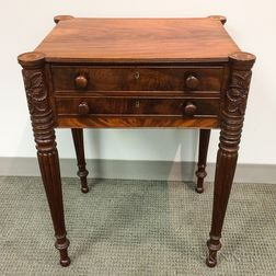 Carved Mahogany Worktable