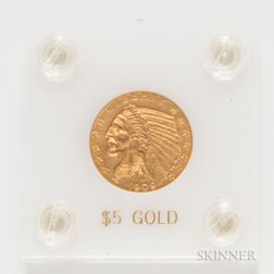 1909 $5 Indian Head Gold Coin,     Estimate $200-400